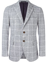 Eleventy Window Pane Plaid Blazer Grey