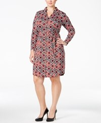Inc International Concepts Plus Size Geo Printed Shirtdress Only At Macy's Glazed Berry
