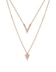 Lucky Brand Holiday Delicates Cubic Zirconia Rose Goldtone Sterling Silver Double Pave Necklace