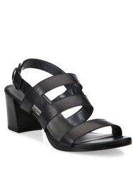 Stuart Weitzman Milanese Strappy Leather Block Heel Slingbacks Adobe Black