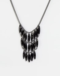 Pilgrim Statement Jewel Necklace Hematite Black