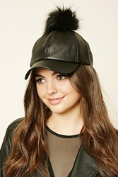Forever 21 Faux Leather Pom Pom Cap Black Black