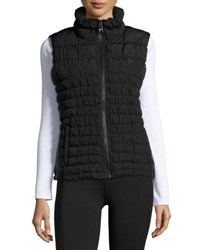 Marc New York Faux Leather Panel High Collar Vest Black