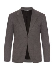 Dolce And Gabbana Bee Embroidered Wool Knit Blazer Grey