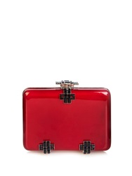 Alexander Mcqueen Deco Crystal And Lacquered Wood Box Clutch