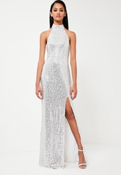 Missguided Silver High Neck Maxi Dress