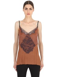 Nina Ricci Patchwork Lace Cady And Satin Slip Top