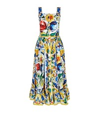 Dolce And Gabbana Printed Straw Button Ruffle Hem Dress Female Yellow