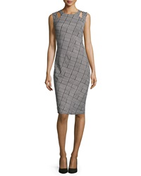 Carmen By Carmen Marc Valvo Sleeveless Plaid Sheath Dress W Cutouts Black White
