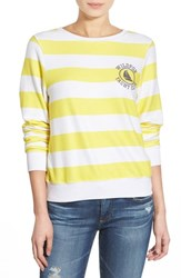 Wildfox Couture Women's Wildfox 'Baggy Beach Jumper Yacht Club' Stripe Pullover Yellow White
