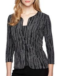 Alex Evenings Plus Printed Jacket And Scoopneck Top Set Black White