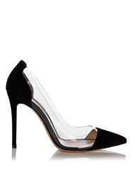 Gianvito Rossi Plexi Velvet Panel Pumps Black