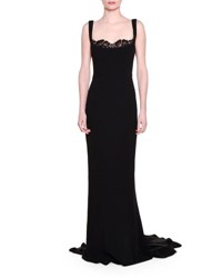 Stella Mccartney Lace Peek A Boo Tank Gown Black