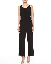 Melissa Masse Tie Waist Sleeveless Jumpsuit Black