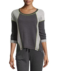 Marc Ny Performance Contrast Stitched Dolman Sweatshirt Charcoal Lime