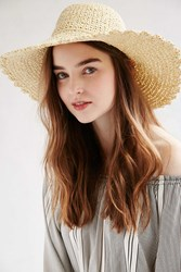 Urban Outfitters Scalloped Femme Straw Floppy Hat Tan