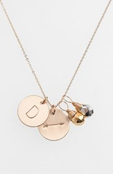 Women's Nashelle Pyrite Initial And Arrow 14K Gold Fill Disc Necklace Gold Pyrite Silver Pyrite D