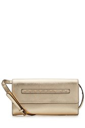 Red Valentino Metallic Leather Clutch With Shoulder Strap Gold