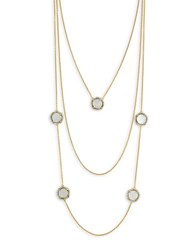 Louise Et Cie White Shell Pearl Gold Layered Necklace