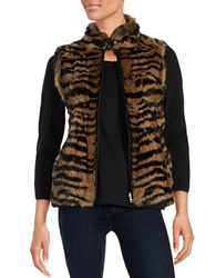 Jocelyn Rabbit Fur Knit Vest Leopard
