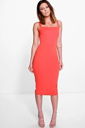 Boohoo Square Neck Open Back Midi Bodycon Dress Orange