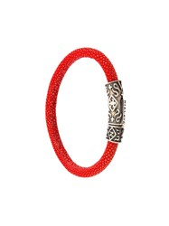 Nialaya Jewelry Lock Bracelet Red