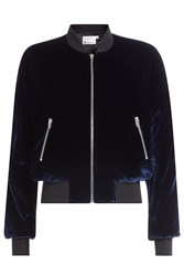 Alexander Wang T By Velvet Bomber Jacket With Silk Blue