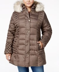 Betsey Johnson Plus Faux Fur Trim Quilted Puffer Coat Taupe
