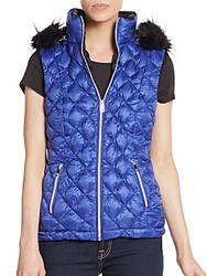 Saks Fifth Avenue Faux Fur Trimmed Quilted Down Vest Azurite Blue