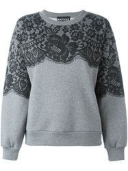 Boutique Moschino Lace Print Sweatshirt Grey