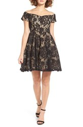 Soprano Women's Lace Off The Shoulder Fit And Flare Dress