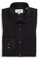Men's Big And Tall Ted Baker London Trim Fit Micro Stripe Dress Shirt Black