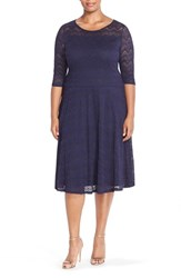 Plus Size Women's Sangria Stretch Lace Fit And Flare Dress Dusk