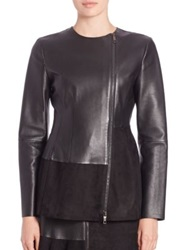 Sportmax Leather And Suede Jacket Black
