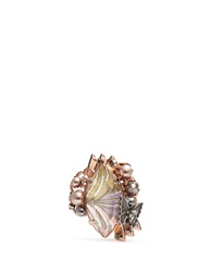 Miriam Haskell Marquise Cut Crystal And Pearl Ring Pink Metallic