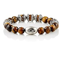 Emanuele Bicocchi Men's Tiger's Eye And Sterling Silver Bead Bracelet No Color