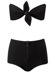 Lisa Marie Fernandez Poppy Textured High Waisted Bikini Black