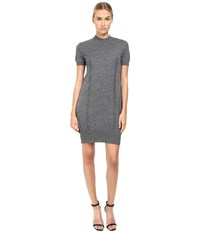 Vera Wang Short Sleeve Knit Dress W Tulle Back Grey