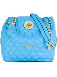 Love Moschino Flap Closure Quilted Shoulder Bag Blue