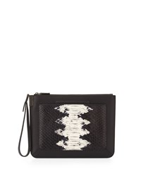 Time's Arrow Ishi Snake Embossed Small Leather Wristlet Black White