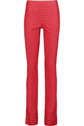 Missoni Metallic Crochet Knit Skinny Pants Red