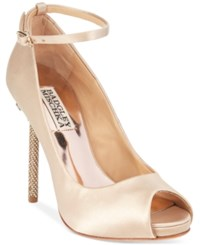 Badgley Mischka Diego Ankle Strap Evening Pumps Women's Shoes Nude