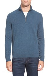 Men's Big And Tall John W. Nordstrom Quarter Zip Cashmere Sweater Blue Slate