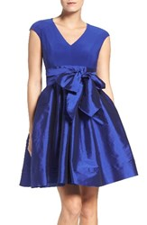 Adrianna Papell Women's Jersey And Taffeta Fit And Flare Dress Sapphire
