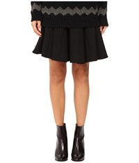 Red Valentino Compact Stretch Wool Black Women's Skirt