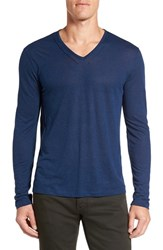 John Varvatos Men's Star Usa Long Sleeve V Neck T Shirt Capri Blue