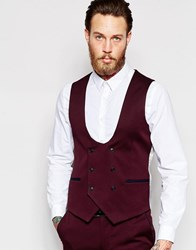 Noose And Monkey Vest With Stretch And Piping In Super Skinny Fit Wine