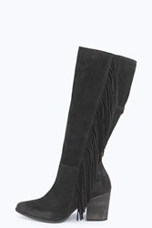 Boohoo Isabel Leather Fringe Side Knee Boot Black
