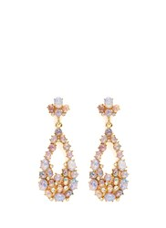 Kenneth Jay Lane Opalescent Glass Cabochon Cutout Drop Earrings Metallic Pink