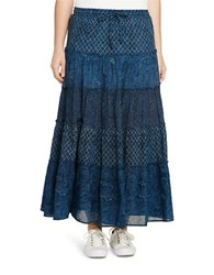 Lauren Ralph Lauren Plus Petite Five Tiered Maxi Skirt Indigo